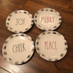 Rae Dunn merry peace joy cheer appetizer plates